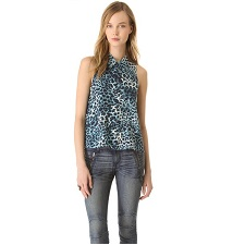 Equipment Blue Cheetah Sleeveless Button Down Blouse